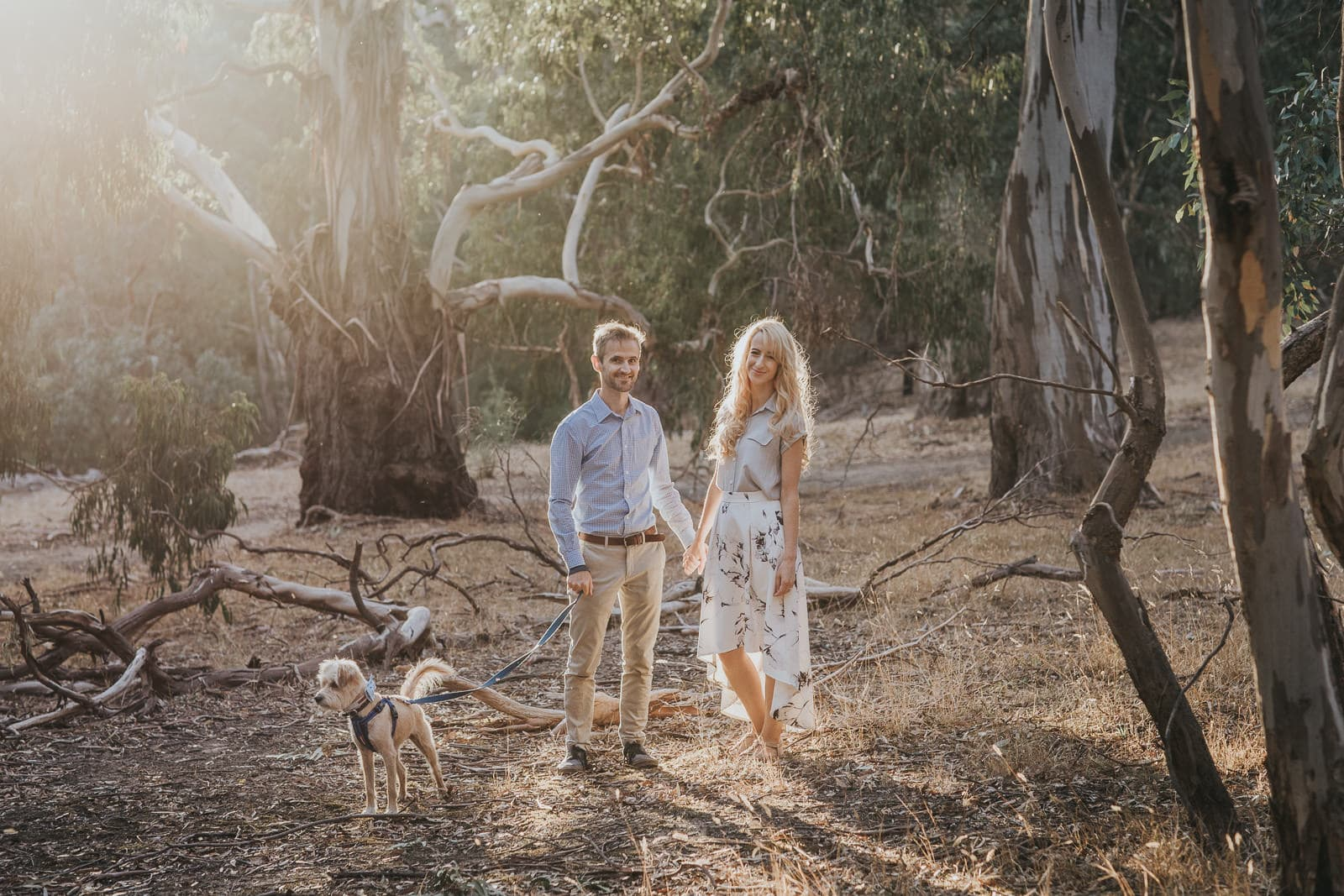 Couples photography in remote locations near Melbourne - sunset photo with your pet